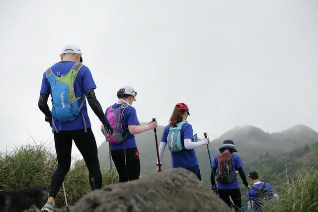 a group of kids on a hike
